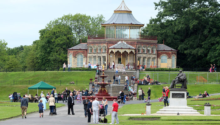 The restored Pavilion and Coalbrookdale Fountain in Mesnes Park